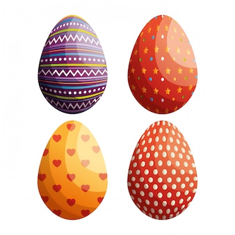 Set of eggs painted happy easter celebration isolated