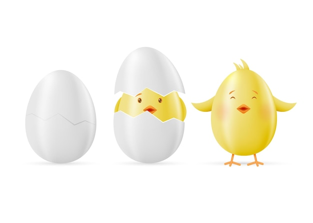 Set of eggs and yellow easter clings on a white.