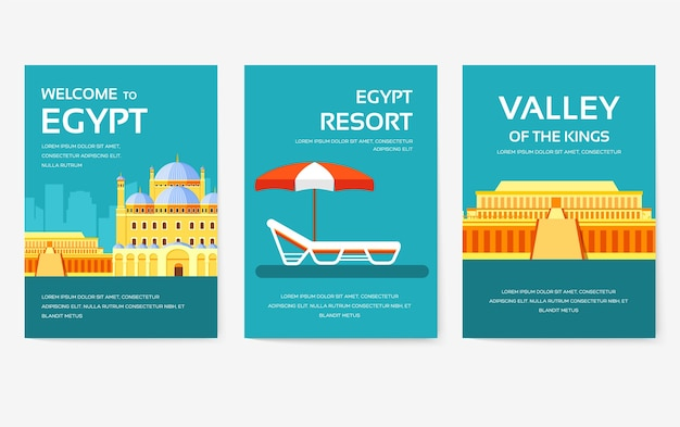 Set of egypt country ornament illustration concept. art traditional, poster, book, abstract, ottoman motifs, element.  decorative ethnic greeting card or invitation   background.