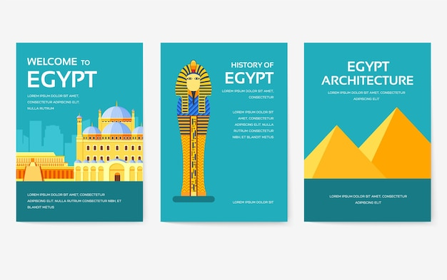 Set of egypt country ornament travel tour concept.