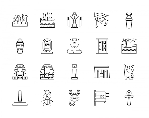 Set of egyptian culture line icons.