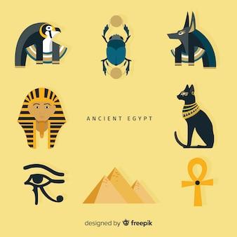 Set di simboli egiziani in design piatto