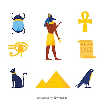 Set of egyptian symbols in flat design