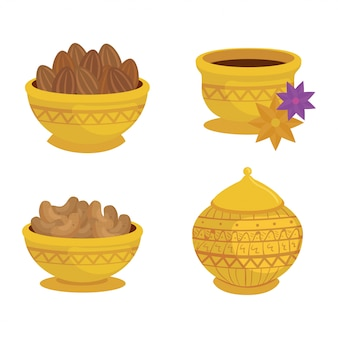Set, eid al adha mubarak icons, traditional arabic plates