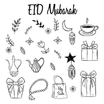 Set of eid mubarak icons or elements with hand drawn style