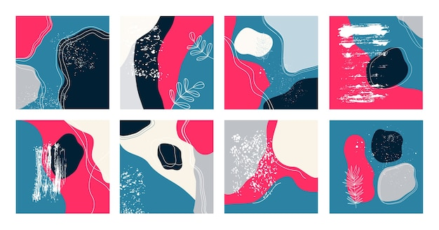 Set of eight abstract backgrounds. trendy.