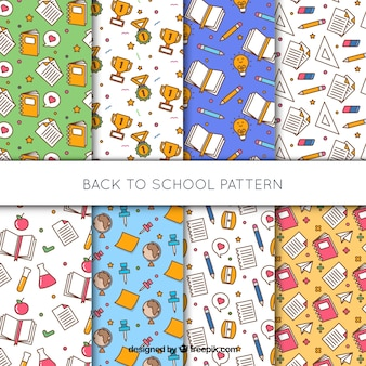 Set of eight back to school patterns