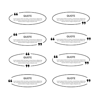 Set of eight black oval quote box frames isolated on white background. vector illustration
