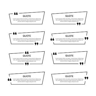 Set of eight black quote box frames isolated on white background. vector illustration