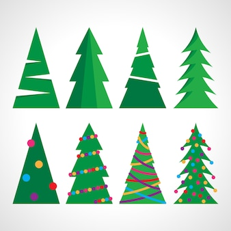 Set of eight christmas tree with christmas balls and decorations. vector illustration.