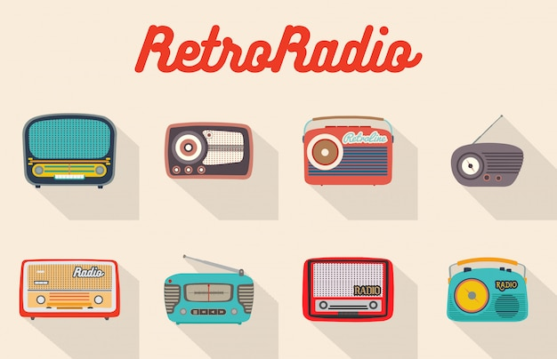 Set of eight colorful isolated retro radios.