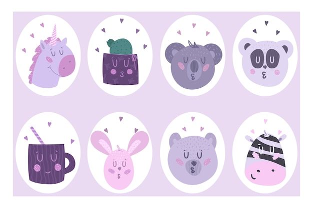 Set of eight cute stickers. beautiful .
