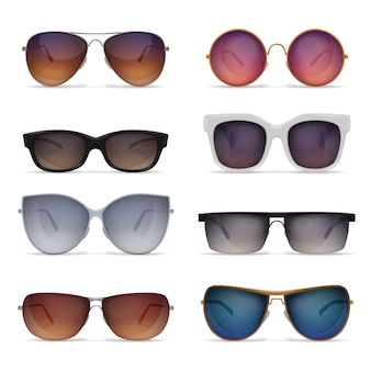 Set of eight isolated sunglasses realistic images with sun goggles models of different shape and colour