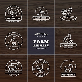 Set of eight modern linear style logos with farm animals with space for text or company name