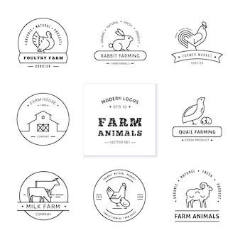 Set of eight modern linear style logos with farm animals with space for text or company name.