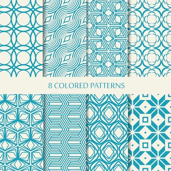 Set of eight seamless chevron patterns in blue and white colors with collection of different stylish shapes and chevron repeating elements