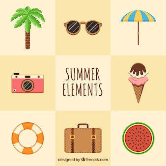 Set of eight summer elements in flat design