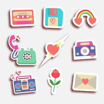 Set of eighty valentine stickers
