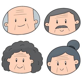 Set of elder people face