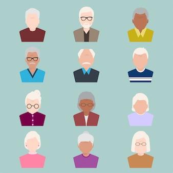 Set of elder people, old people icon