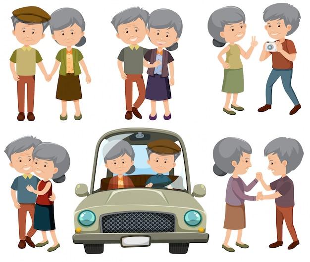 A set of elderly couple