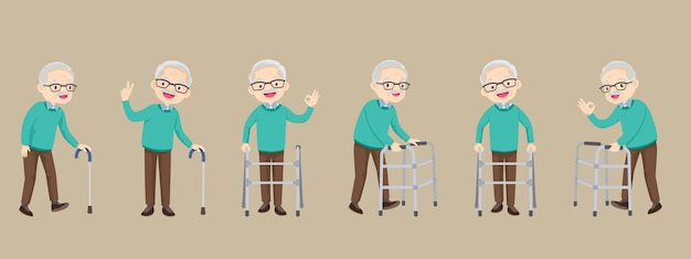 Set of elderly disabled people and medical walker support old grandparents in retirement