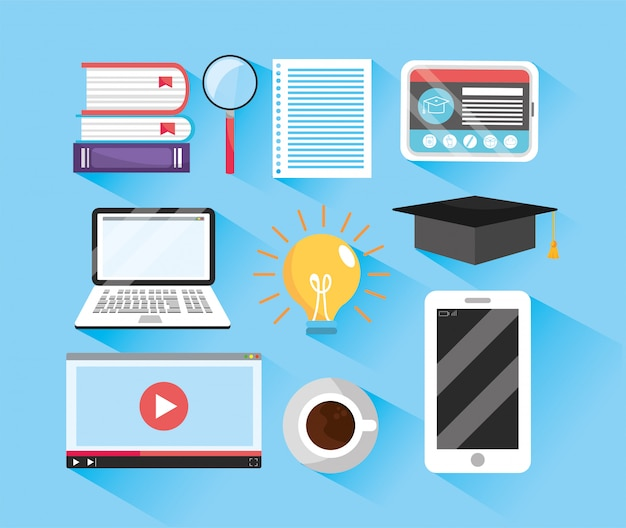 Set elearning education and digital profession study