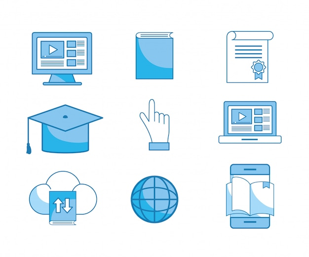 Set elearning education technology to certificate study