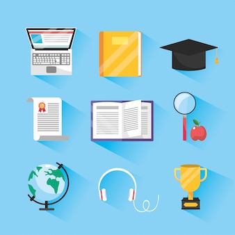 Set elearning online study and digital education