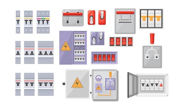 전기 차단기 스위치 박스 전기 및 에너지 장비 빨간 버튼, 흰색 배경에 고립 된 접촉 차단기를 설정 합니다. 전원 제어, 터너가 있는 배전반 패널. 만화 벡터 일러스트 레이 션 프리미엄 벡터