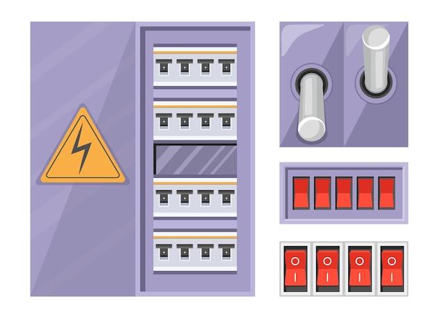 경고 표시와 흰색 배경에 고립 된 빨간 버튼으로 전기 차단기 스위치 박스를 설정합니다. 발전소 제어