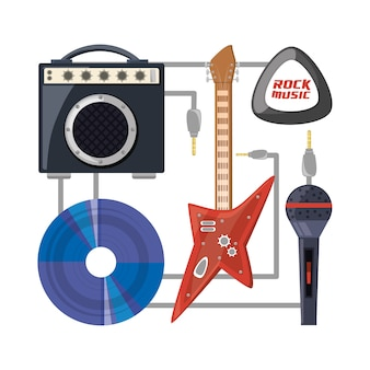 Set electric guitar with amplifier speaker cd and microphone music concept