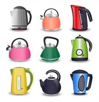 Set of electric kettle and for stove with boiling water isolated on white