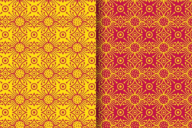 Set of electrical seamless pattern concepts use yellow and red colors modern outline style