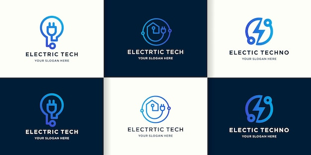 Set of electrical technology logos with line circuit