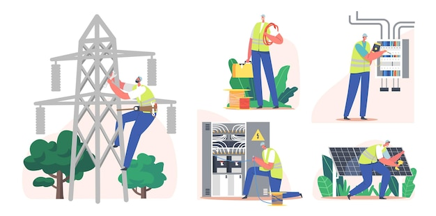 Настройка доставки энергии потребителю от электросети. электрик устанавливает солнечные батареи, передачу и распределение электроэнергии. напряжение измерения символа. мультфильм люди векторные иллюстрации
