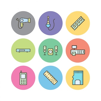 Set of electronic devices icons isolated