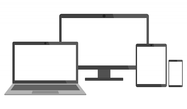 Set of electronic devices - laptop, desktop computer, tablet and smart phone