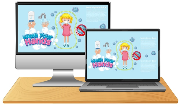Set of electronic devices with hand wash on screen Premium Vector
