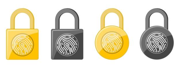 Set of electronic padlock with fingerprint isolated on white
