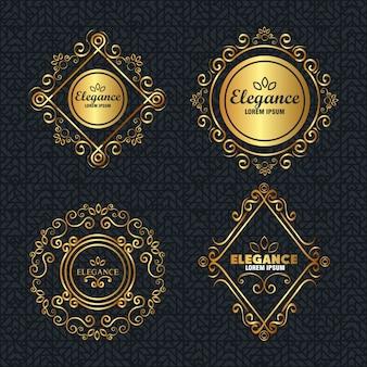 Set elegance style golden frames
