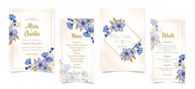 Set of elegant blue floral wedding invitation