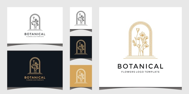 Set of elegant botanical flower logo