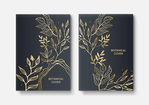 Set of elegant brochure, card, cover. black and golden marble texture. vintage gold background. geometric frame. palm exotic leaves. botanical art