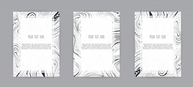 Set of elegant card with marble texture