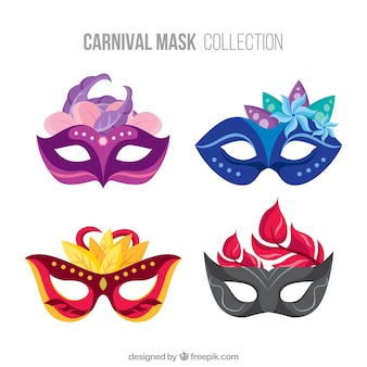 Set of elegant carnival masks