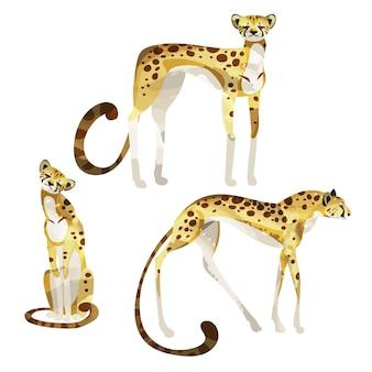 Set of elegant decorative cheetahs