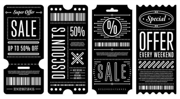 Set of elegant discount coupons