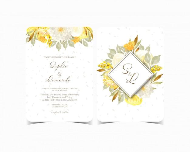 Set of elegant floral wedding invitation card