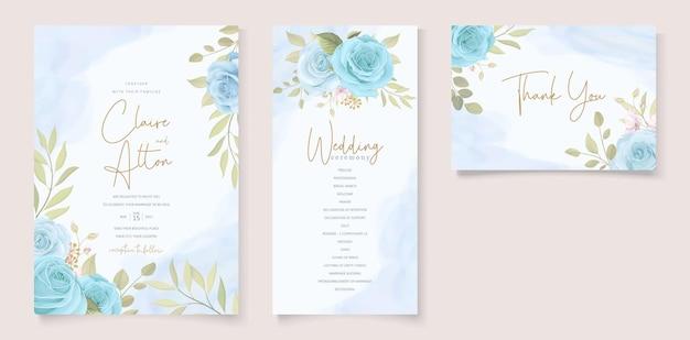 Set of elegant floral wedding invitations